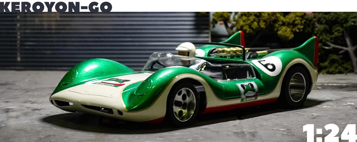 1/24th scale model of the Keroyon Special in green and white