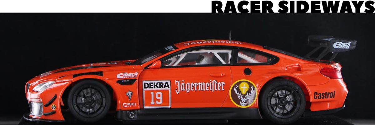 Racer Sideways BMW M6 GT3 slot car in Jagermeister orange