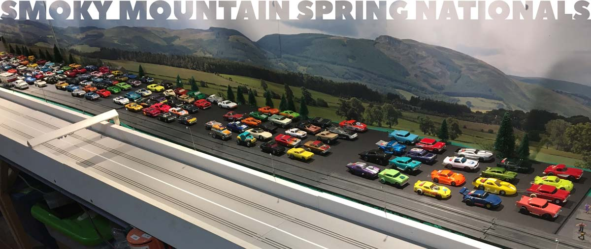 A huge grid of HO cars for the Smoky Mountain Spring National