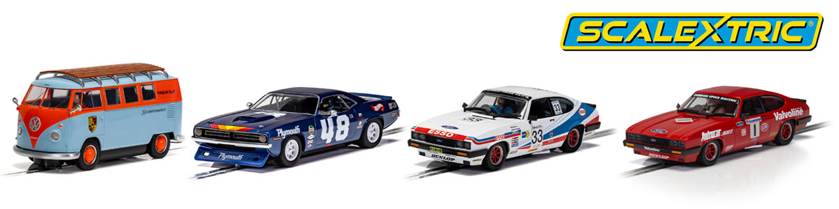Four new models from Scalextric, VW Microbus, Plymouth Barracuda, and two Ford Capris