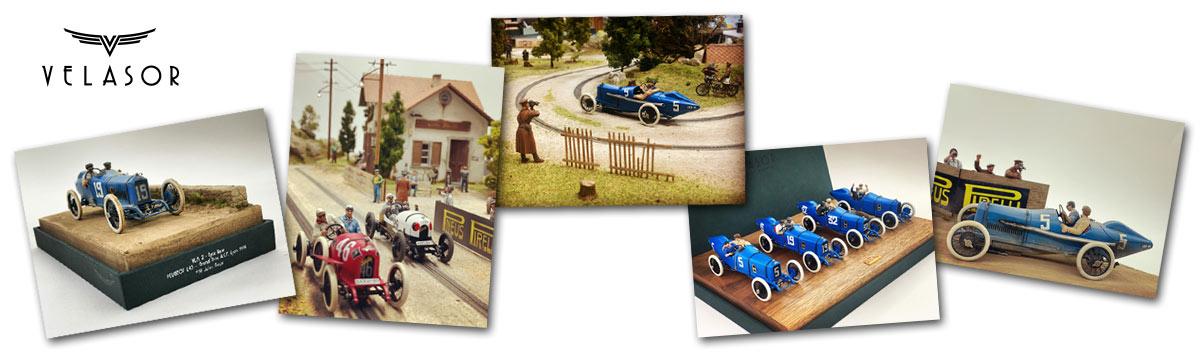 Some of Velasor's wonderfully detailed historic replica slot cars
