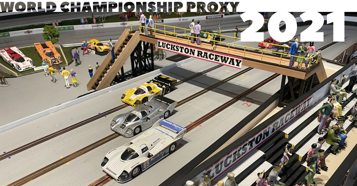 Scenes from Luckston Raceway, the next venue for the World Championship slot car proxy